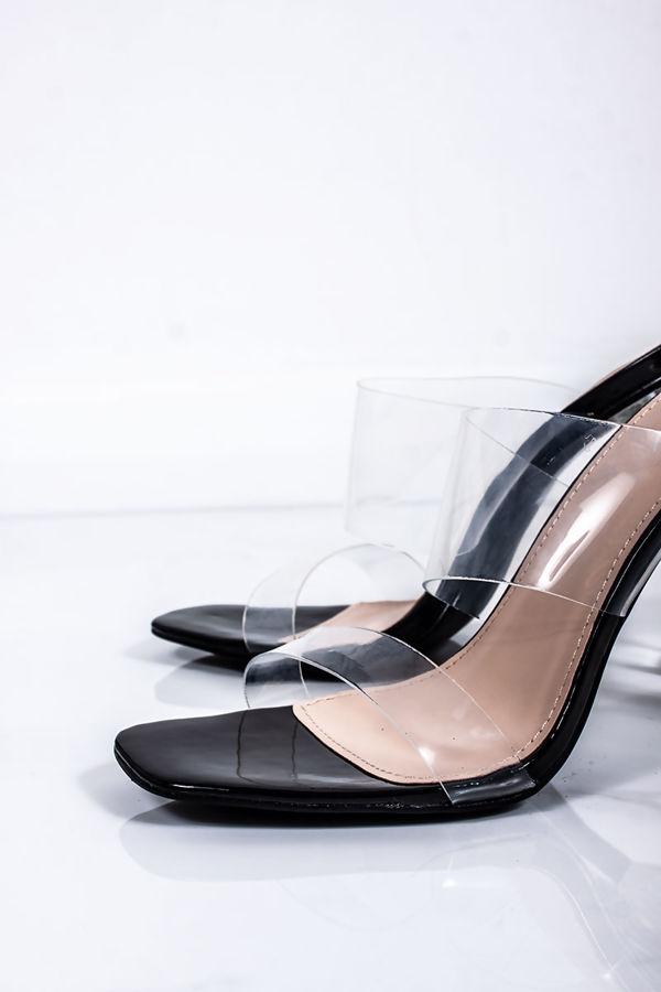 BETHLYN Black Clear Strap Mule Block Heels