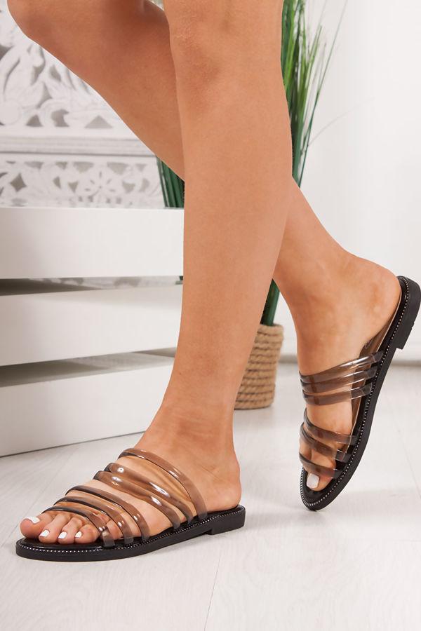 CLOVER Black Clear Strap Sandals