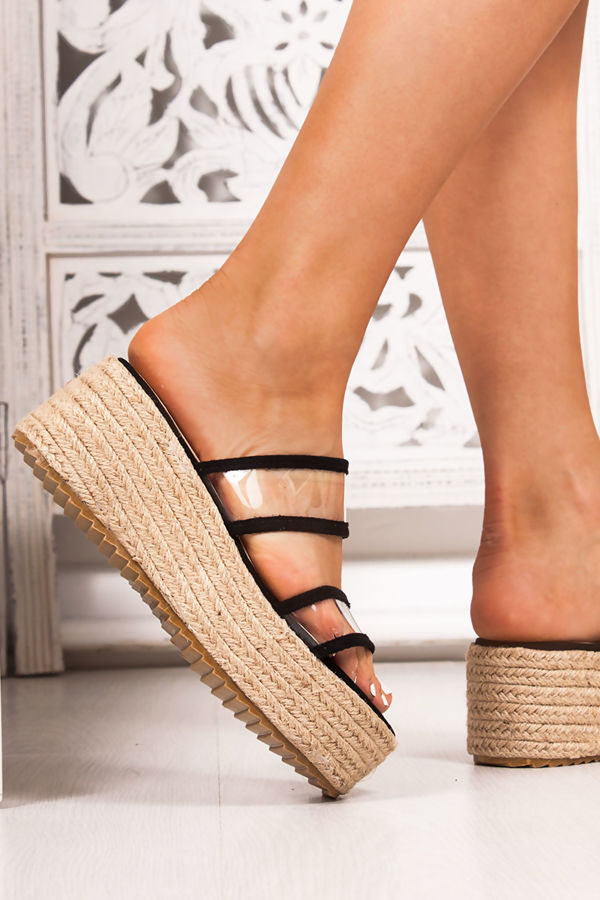 aebe05a8561 GWEN Black Clear Double Strap Mule Espadrille Flatforms