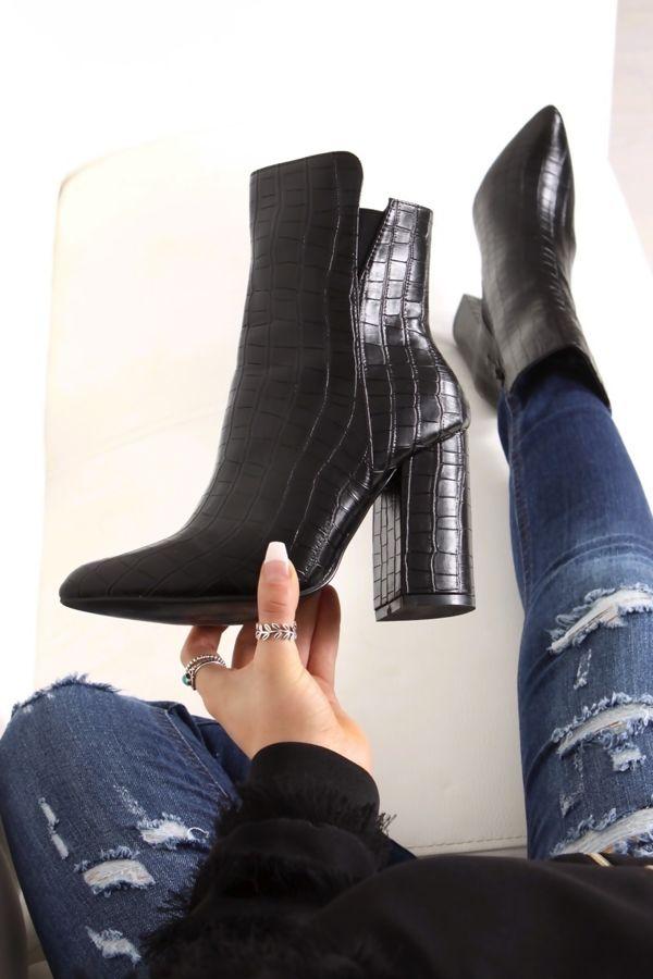 52b76335e4 KIONA Faux Leather Croc Block Heel Boots