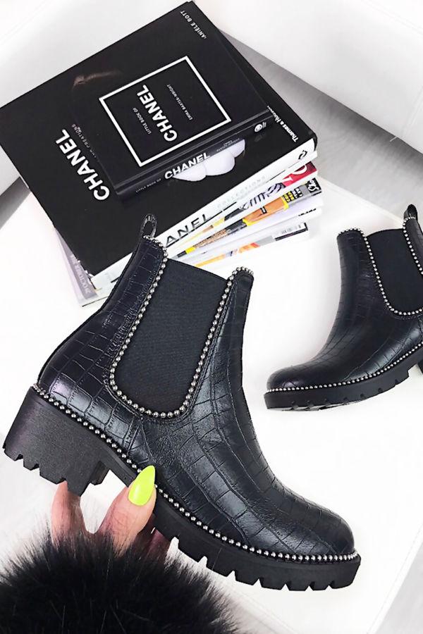 DONNA Faux Leather Croc Chelsea Boots