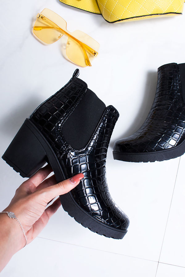 MADISON Black Croc Print Patent Ankle Boots