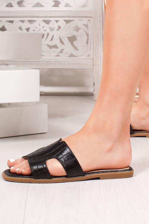 DEENA Black Croc Print Strap Sandals