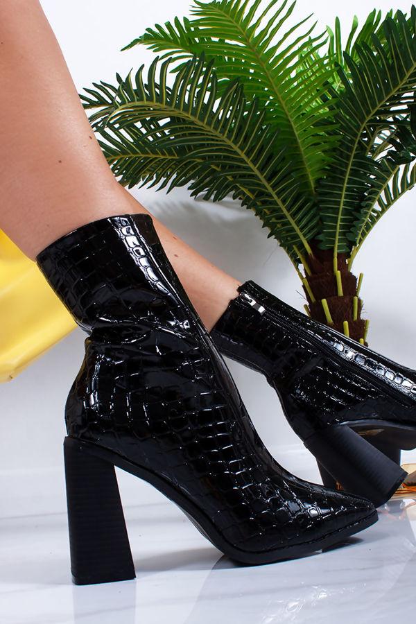 svart croc heeled støvler order 4cf2c bf1b3