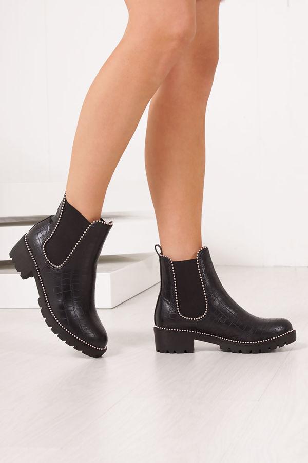 FLORA Faux Leather Croc Chelsea Boots