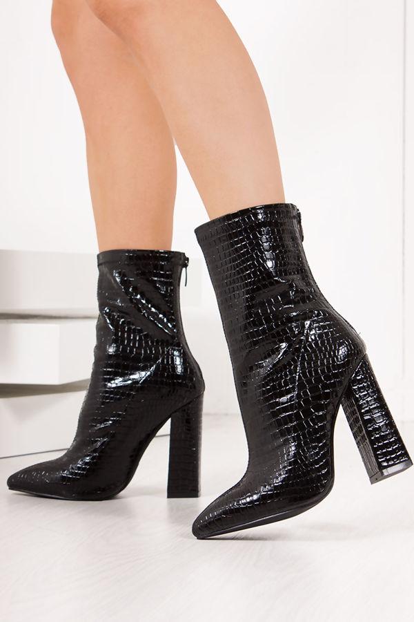 TIA Black Croc Print Patent Block Heel Boots