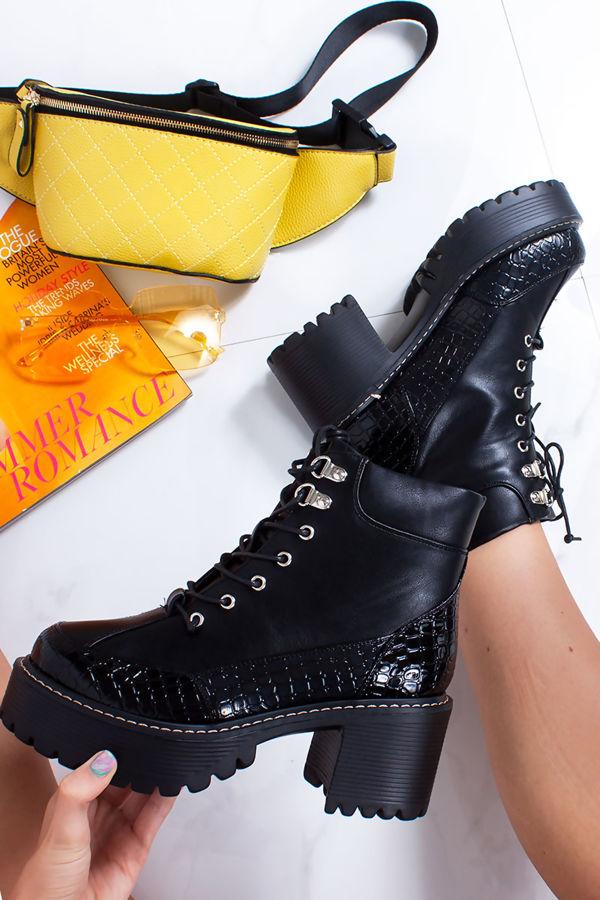 svart chunky lace up ankle støvler free