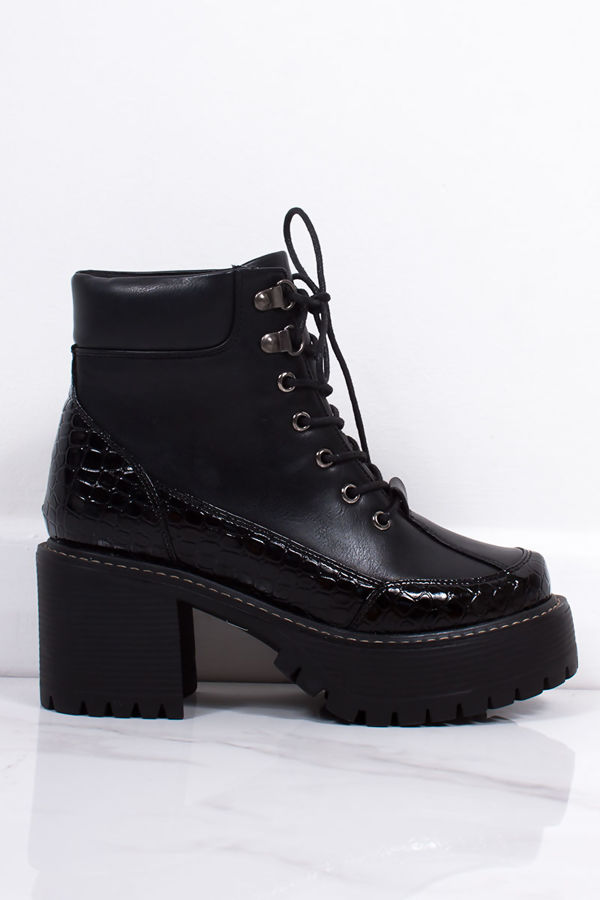 STELLA Black Croc Print Trim Lace Up Chunky Sole Ankle Boots