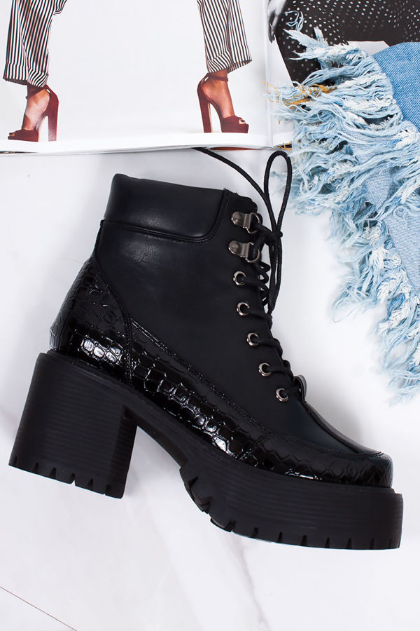 2c1e0ae7bfe STELLA Black Croc Print Trim Lace Up Chunky Sole Ankle Boots