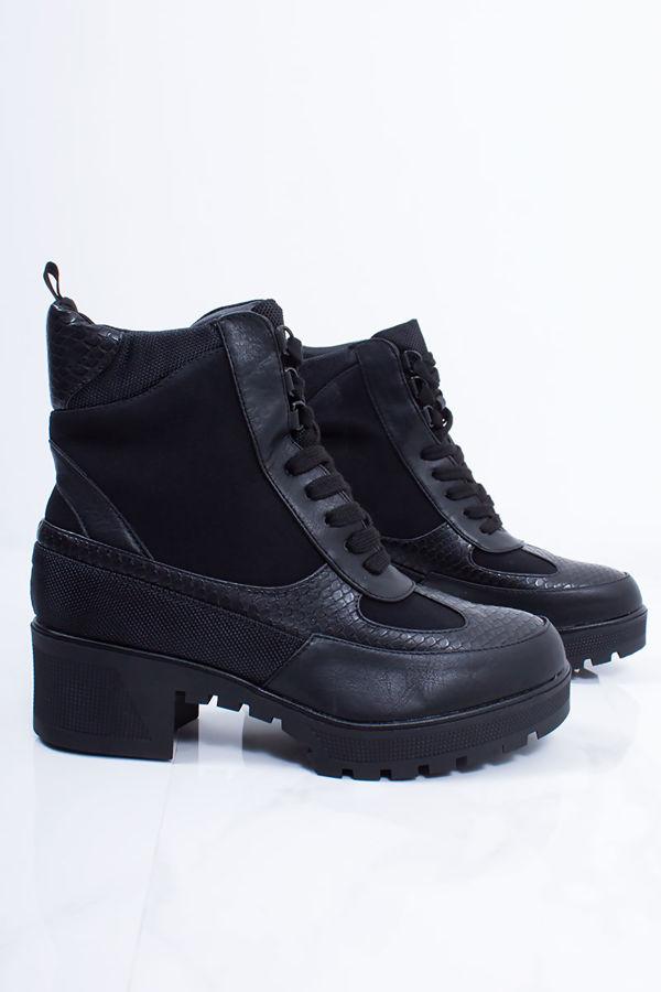 VERITY Black Croc Print Faux Leather Hiker Boots