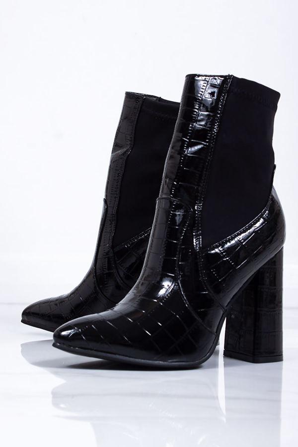 CASSIE Black Croc Print Block Heel Boots