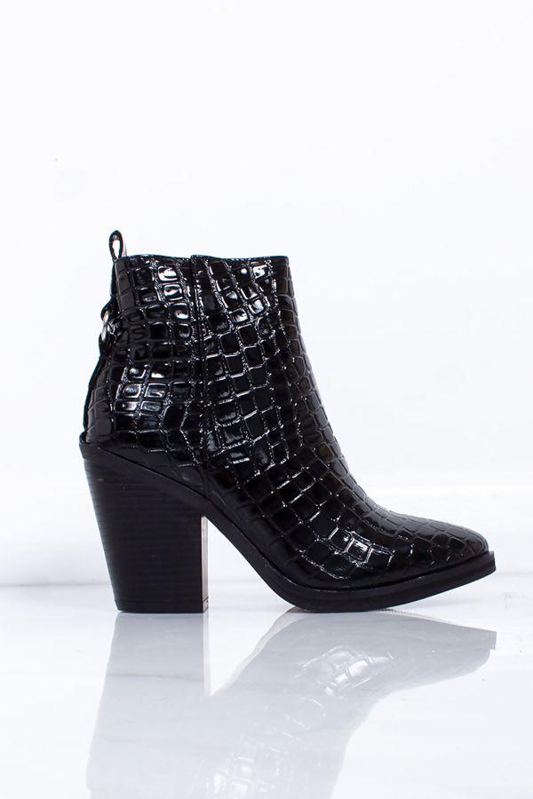 SCARLETT Black Croc Print Block Heel Ankle Boots