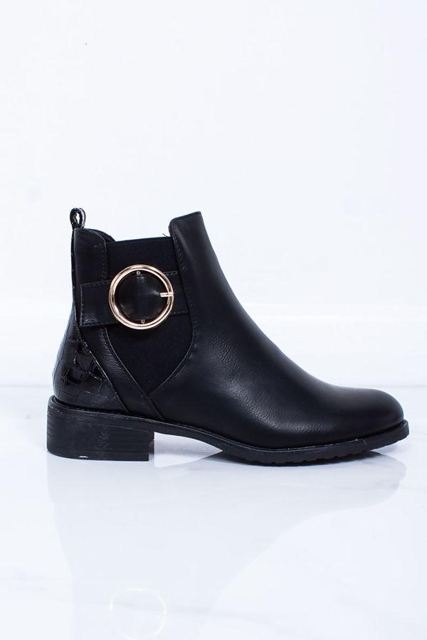 AMBER Black Buckle Detail Croc Print Chelsea Boots