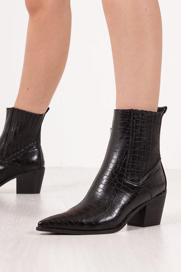 PEYTON Black Croc Cowboy Ankle Boots