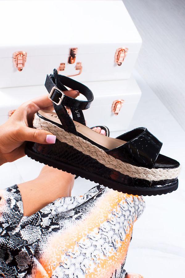 KENDALL Black Croc Print Flatform Espadrille Sandals