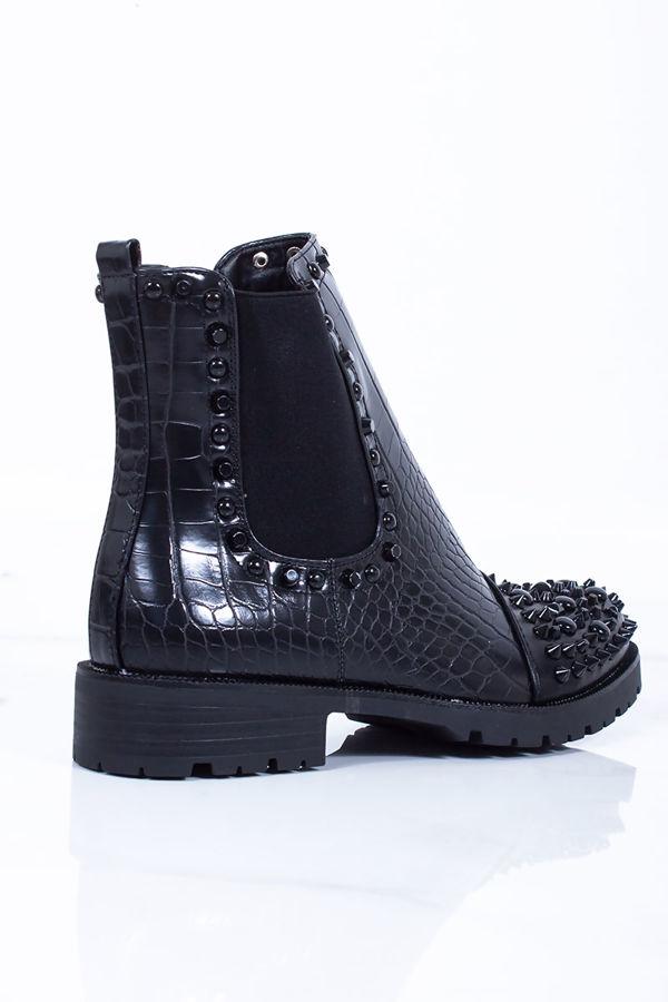 SYLVIE Black Croc Print Ankle Boots With Black Spike Details