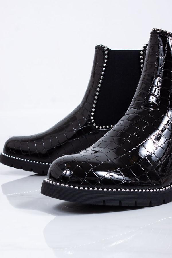 ALEX Black Croc Patent Stud Chelsea Boots