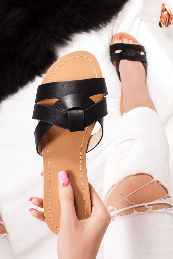 62e0dd3adae9 HOLLIE Black Cross Strap Mule Sandals