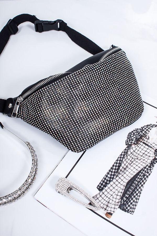 SAMMIE Black Diamante Bum Bag