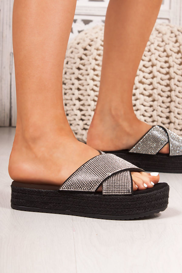 ISABELLE Black Diamante Cross Strap Mule Espadrille Flatforms