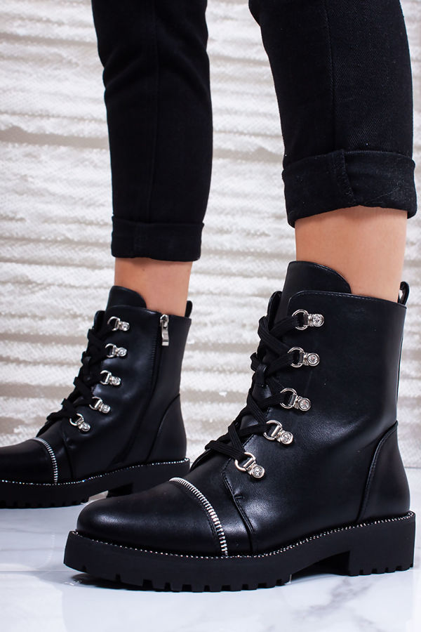 CARLA Black Faux Leather Hiker Boots