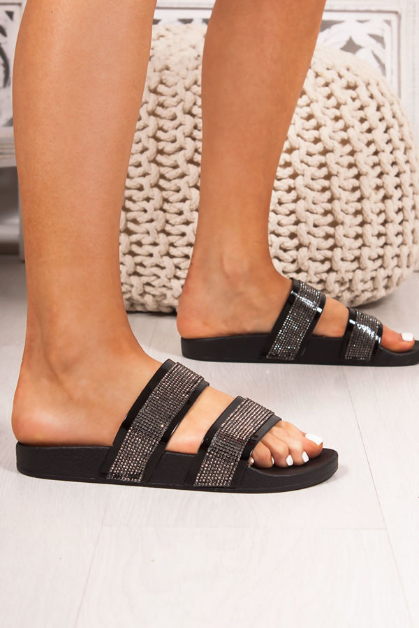 MYLA Black Double Strap Diamante Sliders