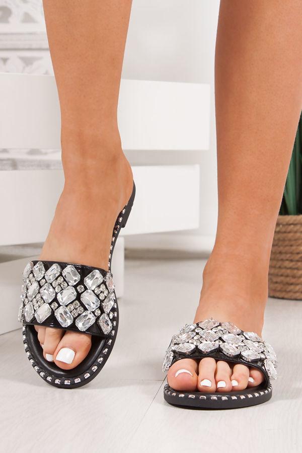 POLLY Black Jewel Embellished Strap Sliders