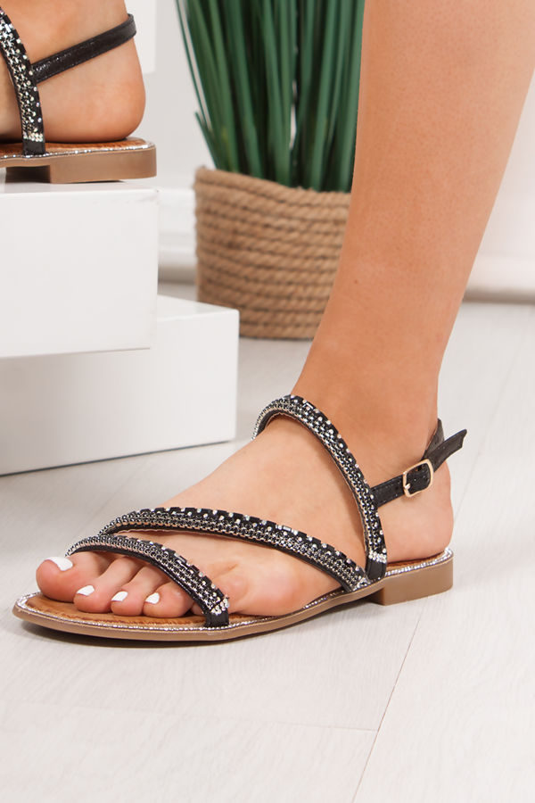 JASMINE Black Diamante Strap Flat Sandals