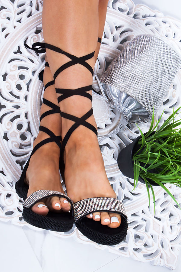 6073a92bd7 CELINE black wrap up rope sandals with diamante detail