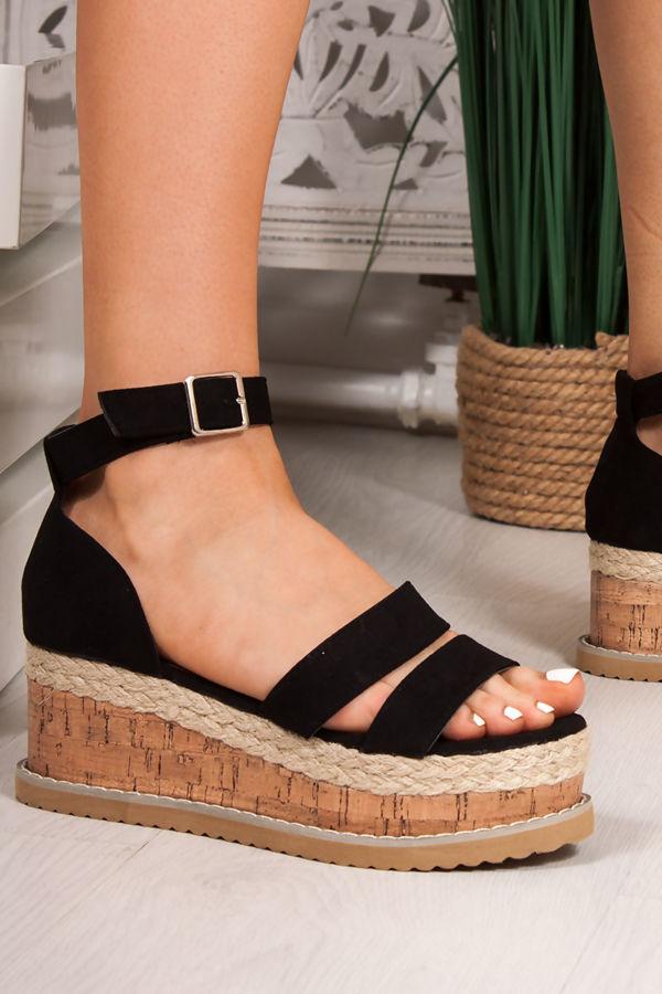 BEA Black Double Strap Flatform Espadrille Sandals
