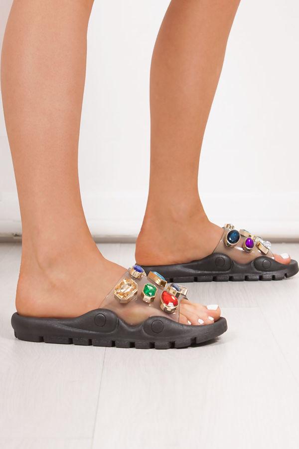 KAYLEE Black Multi Jewel Embellished Strap Sliders