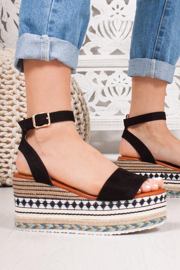 LIVI Black Faux Suede Strap Aztec Flatform Sandals