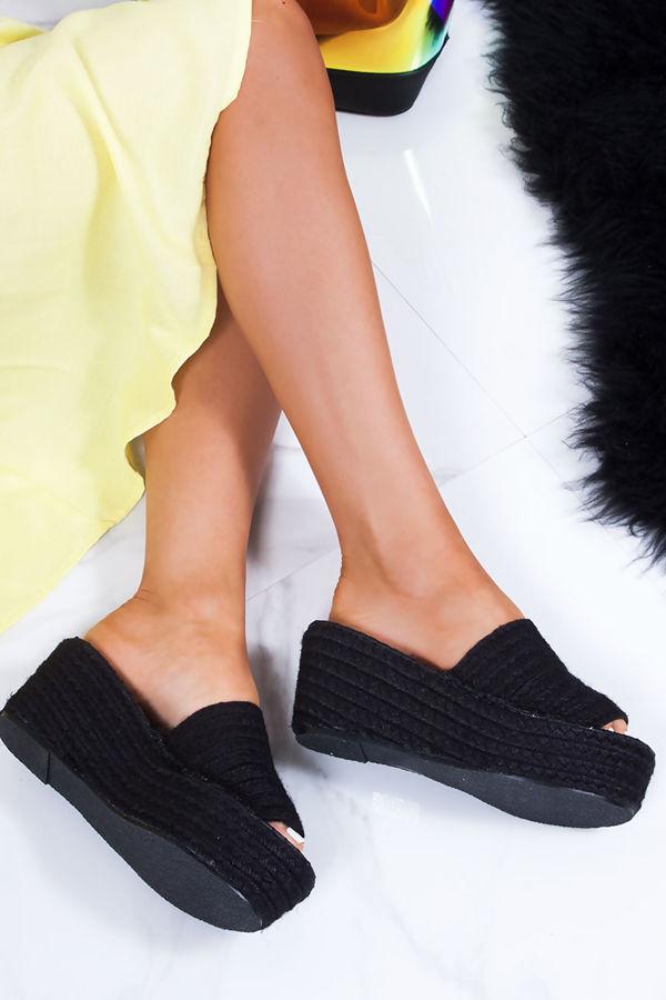 MIA Black Woven Raffia Espadrille Mule Flatforms