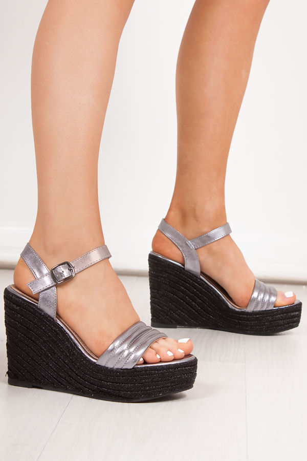 236cac830e PIPER Black Metallic Quilted Strap Espadrille Wedges