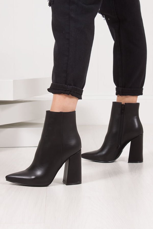 SABINE Black Pointed Toe Block Heel Ankle Boots
