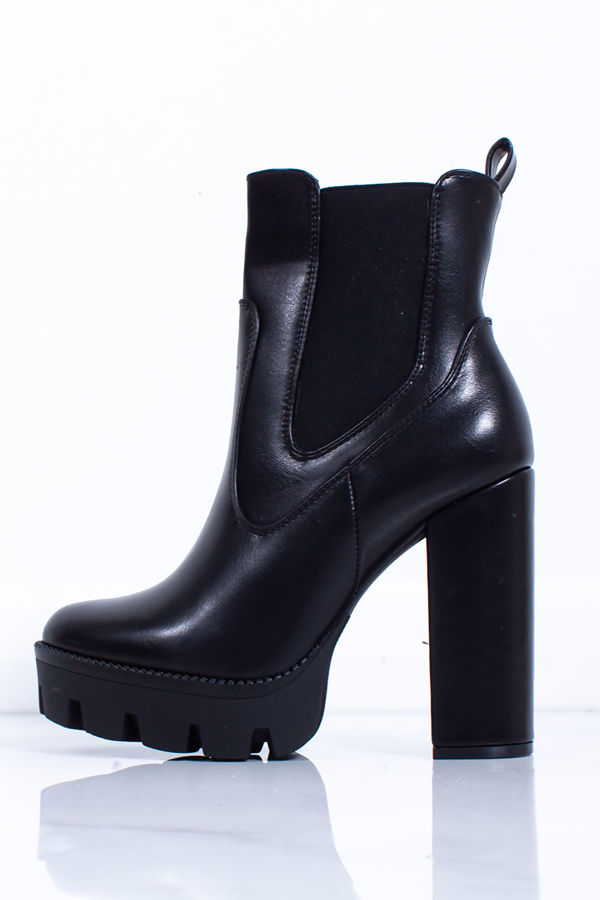 MACI Black Faux Leather Platform Heeled Biker Boots