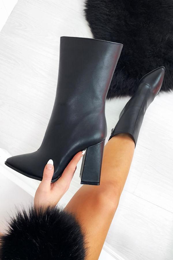 ROCHELLE Black Faux Leather Block Heel Boots