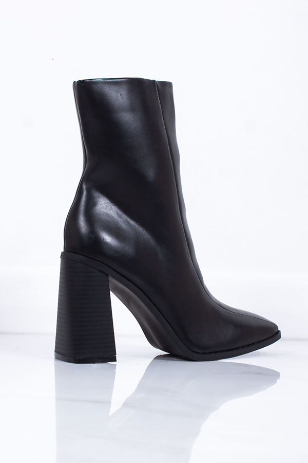 PERRIE Black Faux Leather Block Heel Ankle Boots