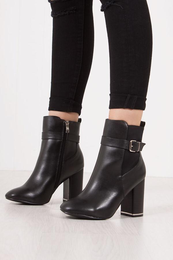 ZAHRA Black Block Heel Silver Trim Buckle Strap Boots