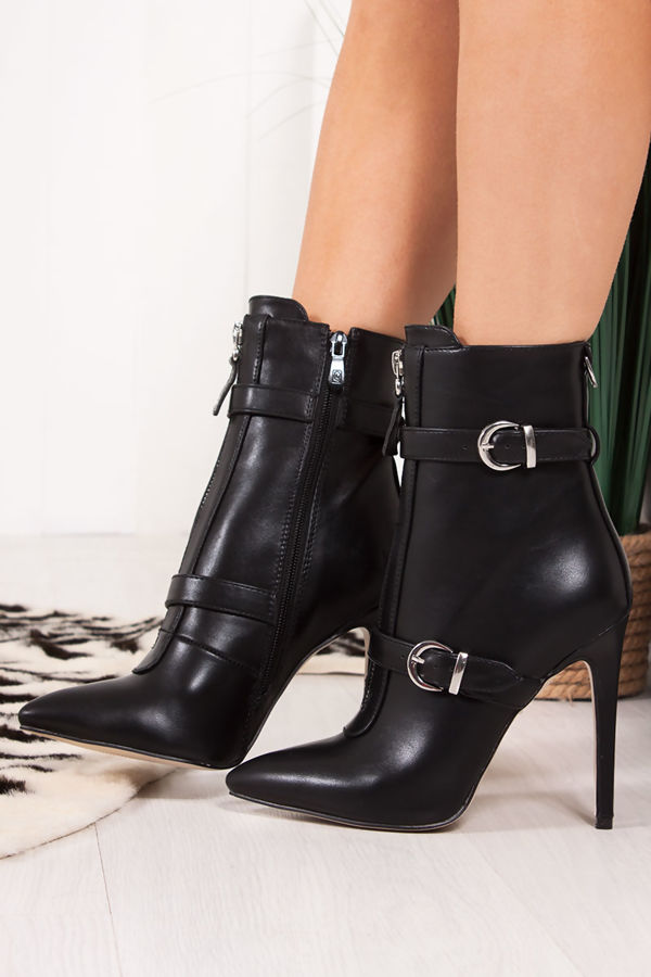 KEEGAN Black Faux Leather Buckle Strap Stiletto Boots