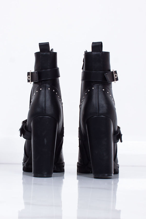 DANNI Black Buckle Strap Silver Stud Block Heel Boots