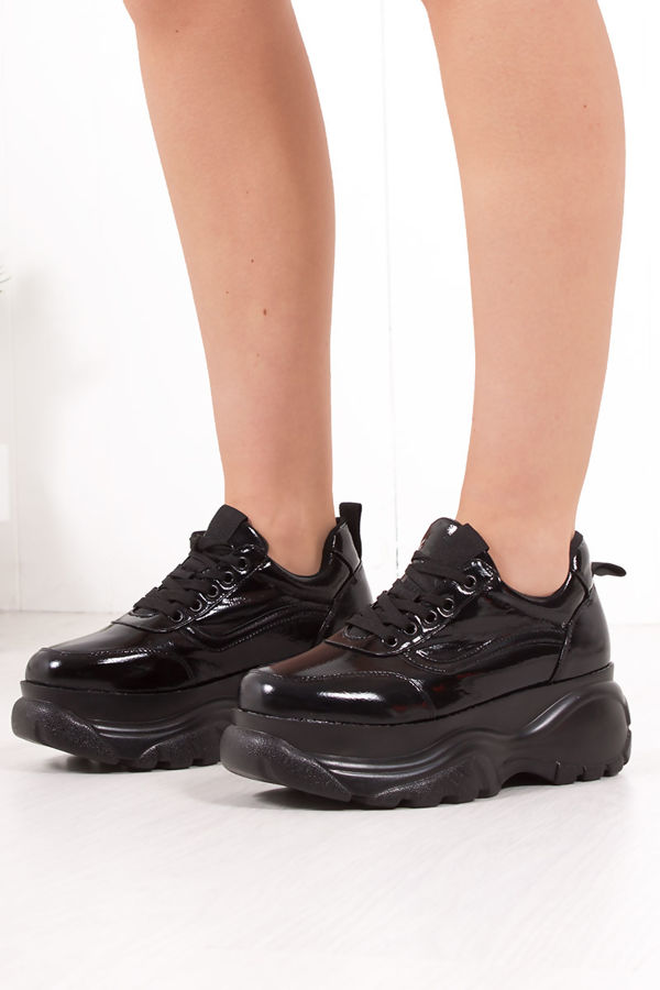 SYDNEY Black High Shine Chunky Trainers