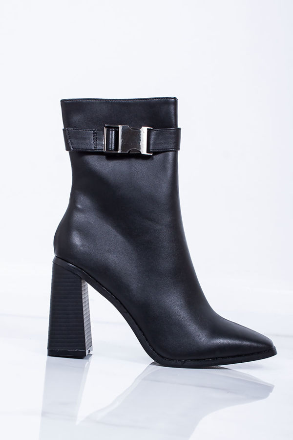 SELENA Black Clasp Strap Block Heel Boots