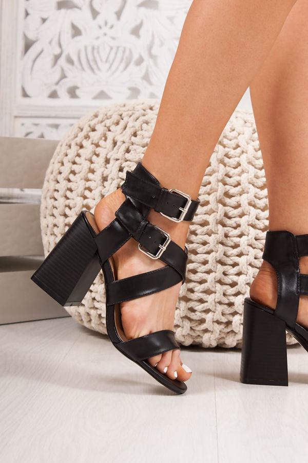 LAUREL Black Cross Strap Block Heeled Sandals