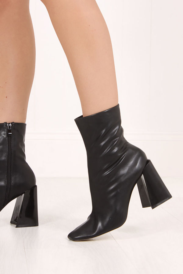 IRIS Black Faux Leather Flared Block Heel Boots