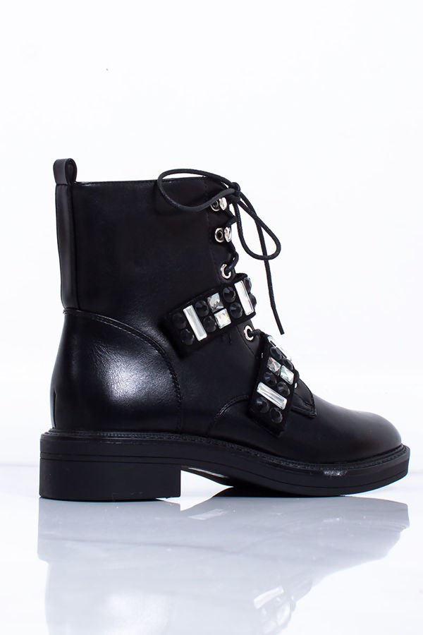 MAISIE Black Faux Leather Jewel Detail Strap Ankle Boots