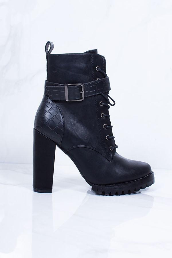 TAYA Black Faux Leather Croc Print Heeled Biker Boots