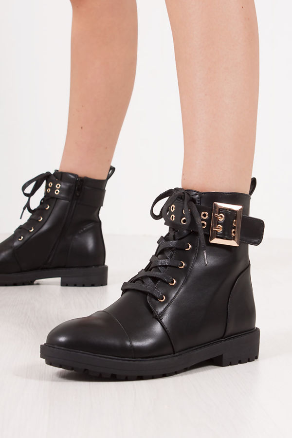 WYNTER Black Faux Leather Eyelet Buckle Strap Ankle Boots