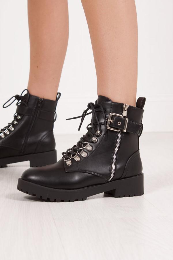 SHARNIE Black Faux Leather Buckle Strap Biker Boots