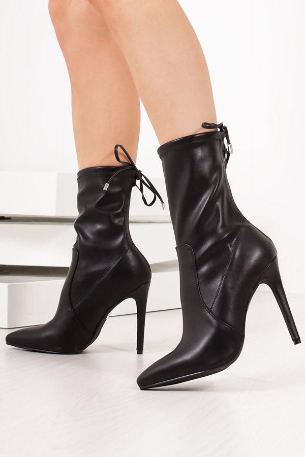 76eeeca8fb9 ZARA Black Faux Leather Tie Back Stiletto Boots